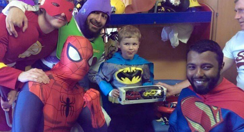 Muslim superheroes distribute eid gifts to children's hospitals